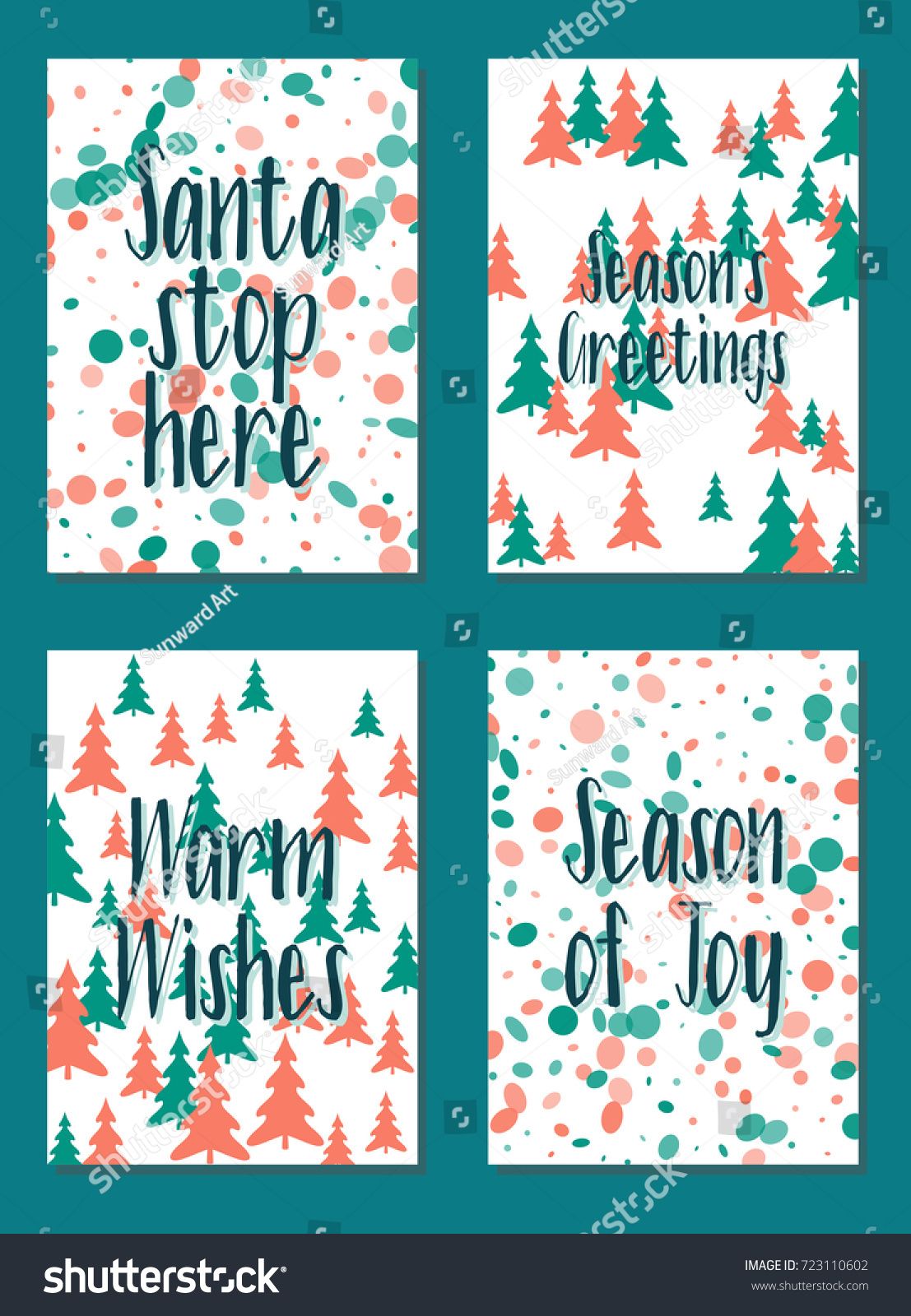 Christmas cards vector collection with lettering and modern ...