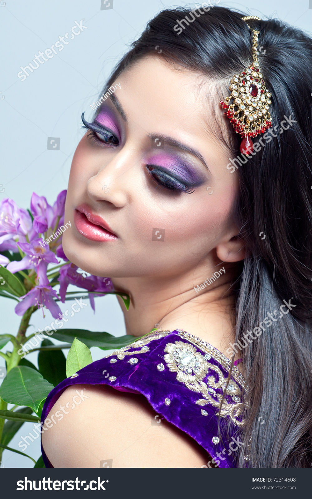 beautiful indian woman bridal makeup closeup stock photo (royalty