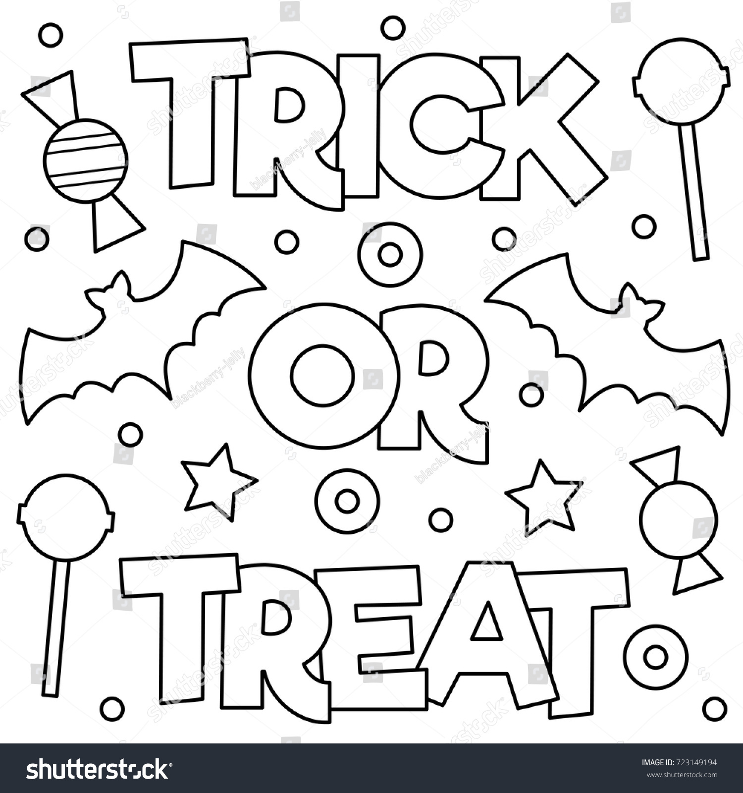 Trick Treat Coloring Page Vector Illustration Stock Vector (2018 ...