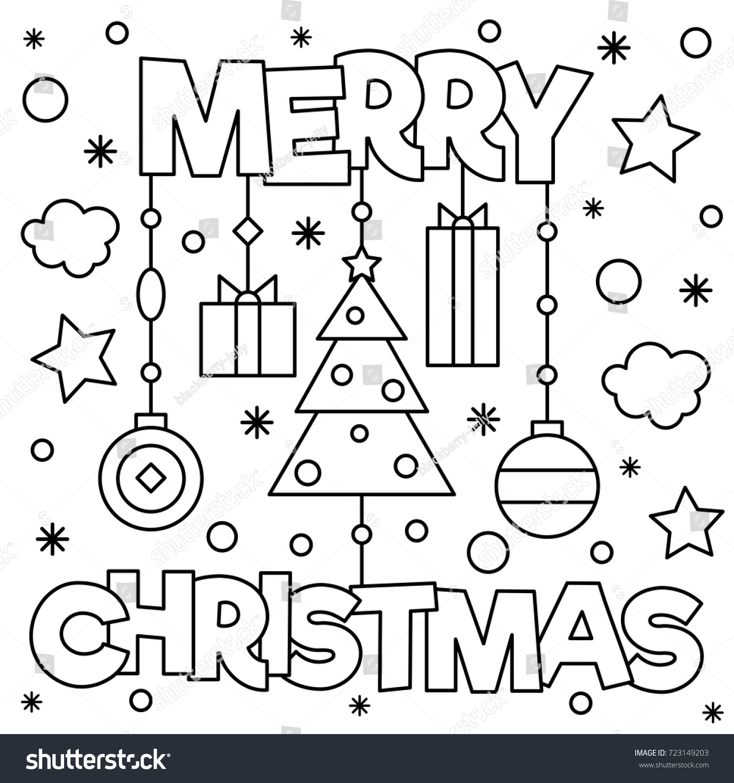 Merry Christmas Coloring Page Vector Illustration Stock Vector ...