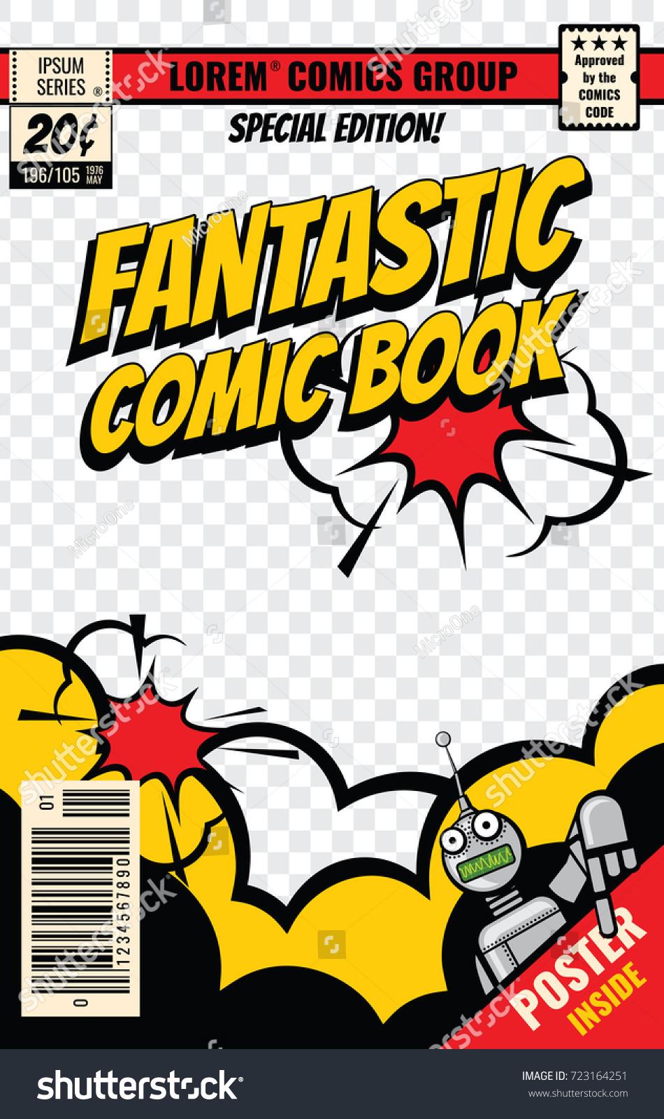 comic book cover vector template comic stock vector 723164251 shutterstock. Black Bedroom Furniture Sets. Home Design Ideas