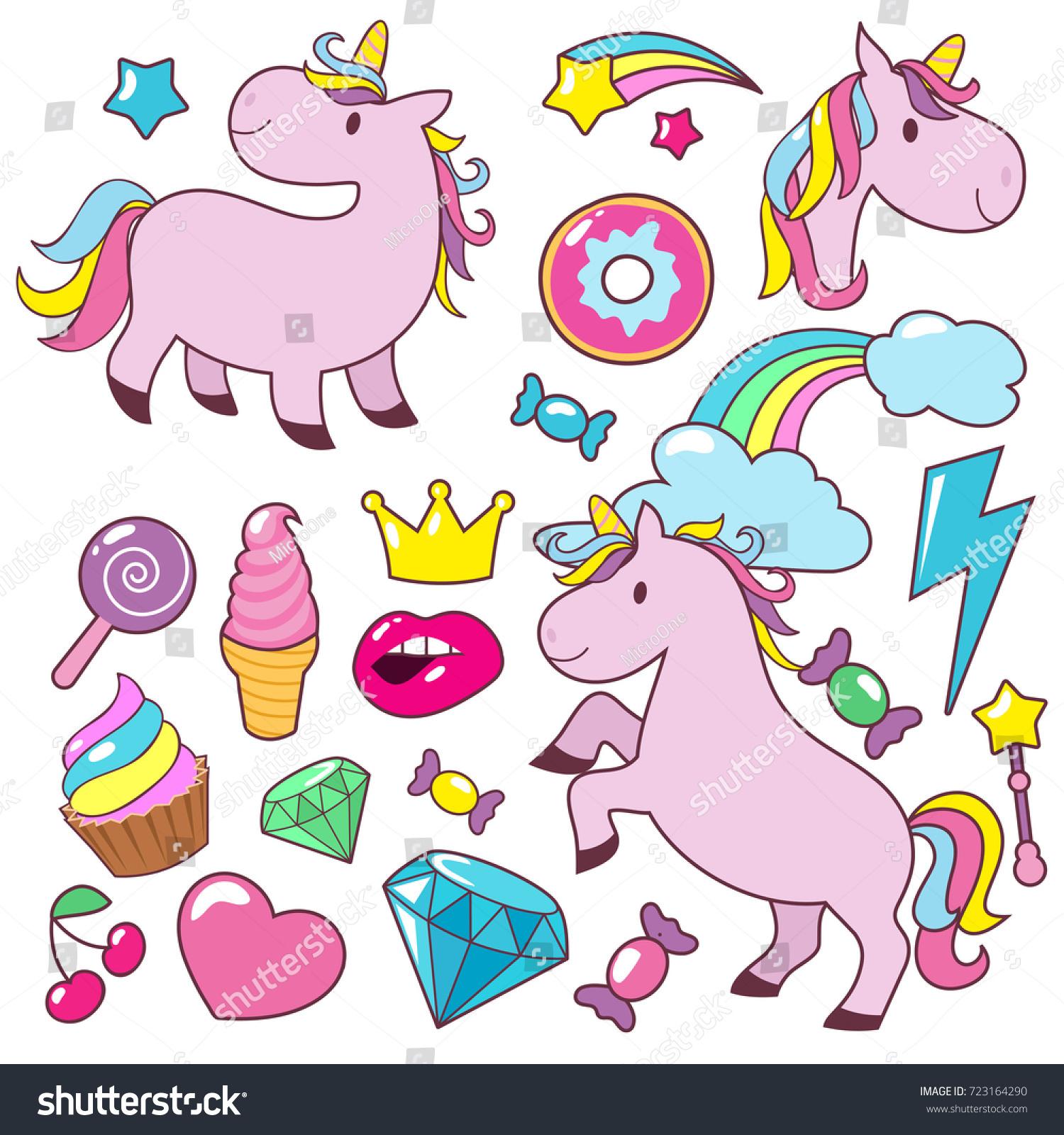 Vector De Stock Libre De Regalias Sobre Magic Cute Unicorns Baby Horses Vector723164290