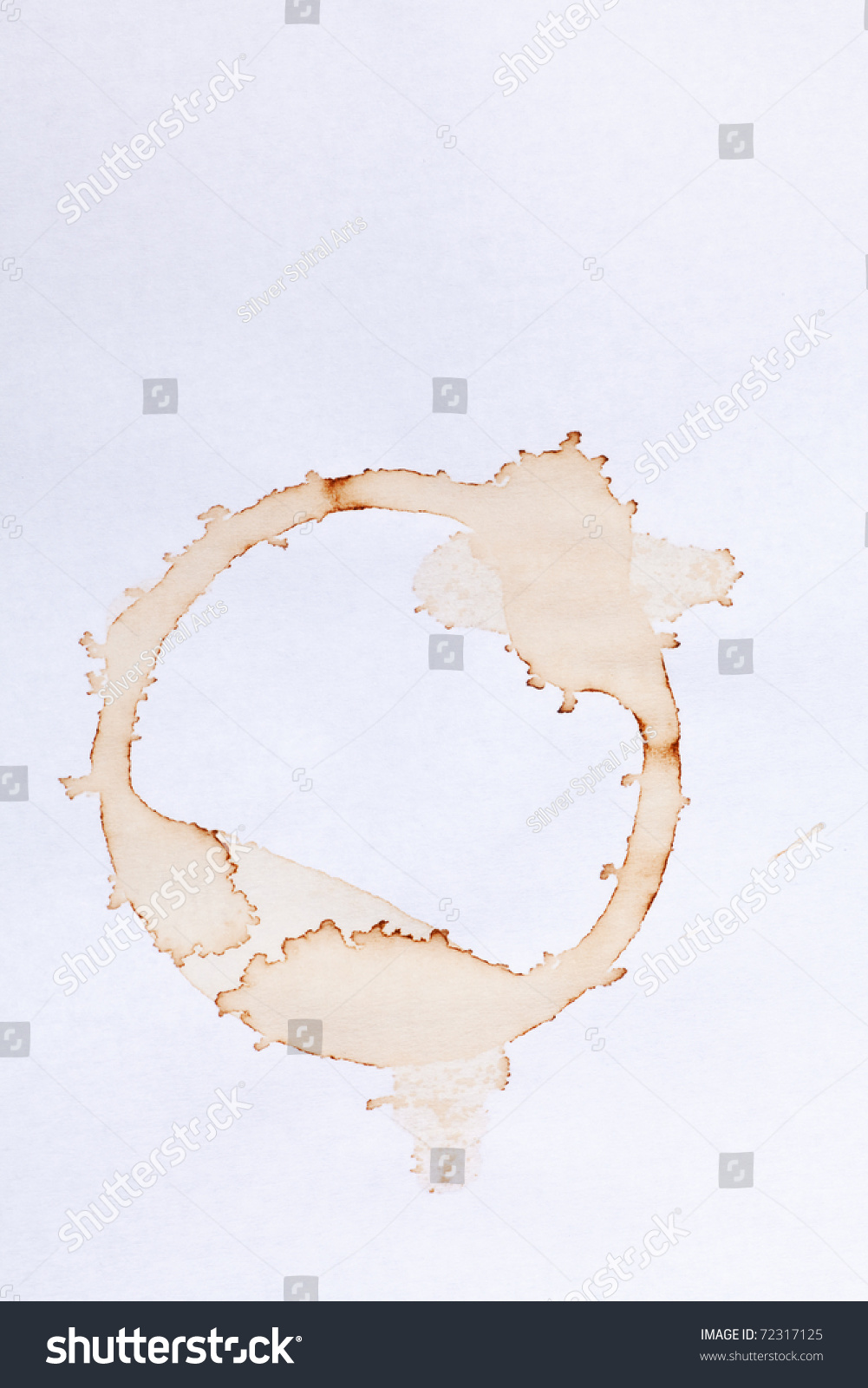 Coffee Ring Stains On White Paper Stock Photo 72317125 ...
