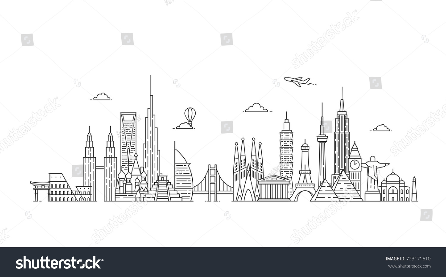 World skyline. Travel and tourism background. Famous buildings and monuments.