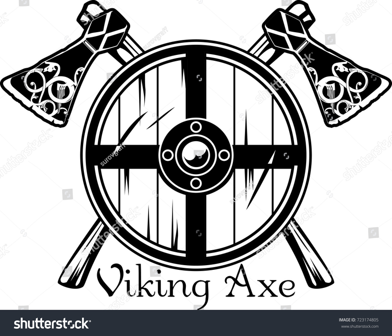 Viking Axe Scandinavian Pattern Viking Shield Stock Vector Royalty
