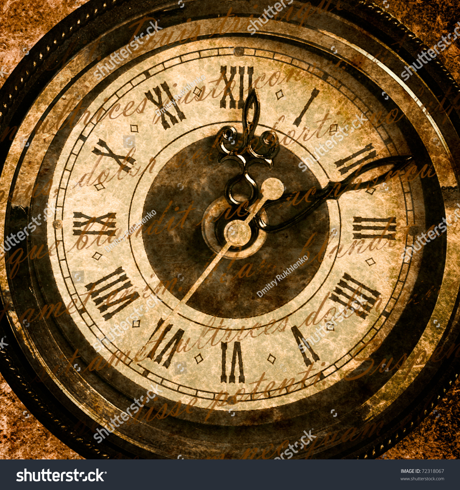Time Concept Vintage Clock Face Grunge Stock Photo