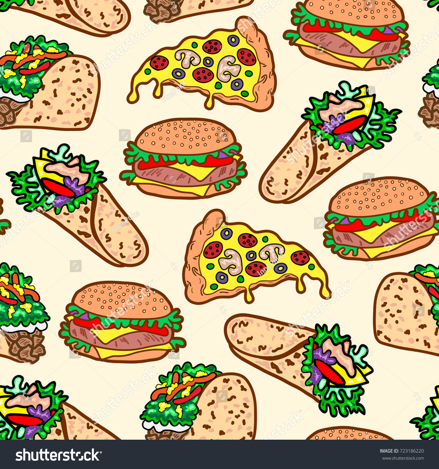 Medical abbreviations taco - Vector Sandwiches Seamless Pattern Cheeseburger Hamburger Wrap Roll Taco Toast