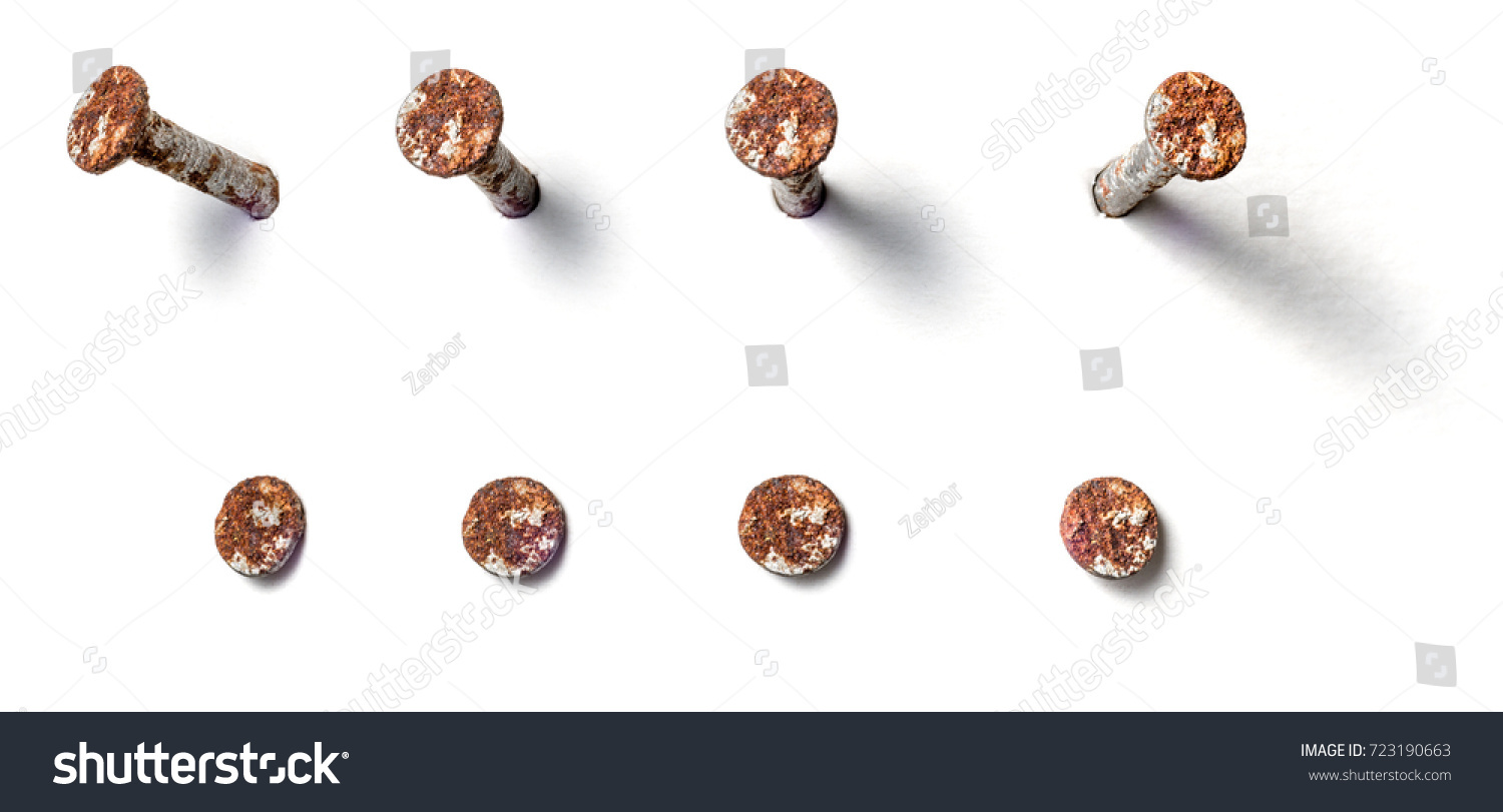 Rusty nail from different perspectives on a white background #723190663