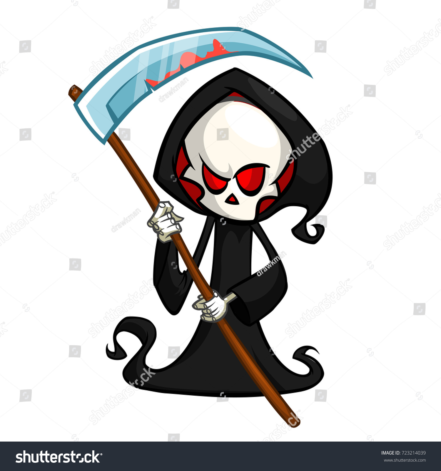 Cartoon Characters Hood : Grim reaper cartoon character scythe isolated stock vector