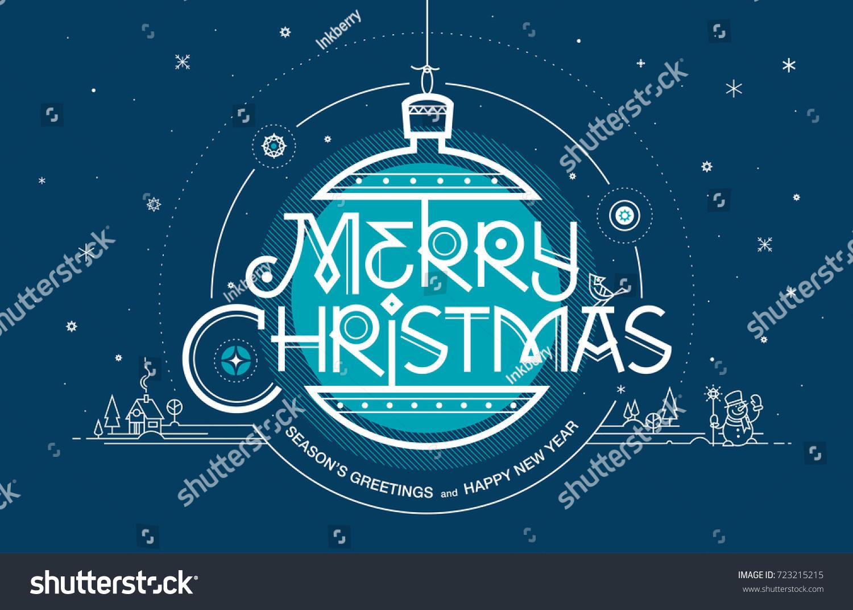 Merry Christmas Seasons Greetings Happy New Stock Vector Royalty