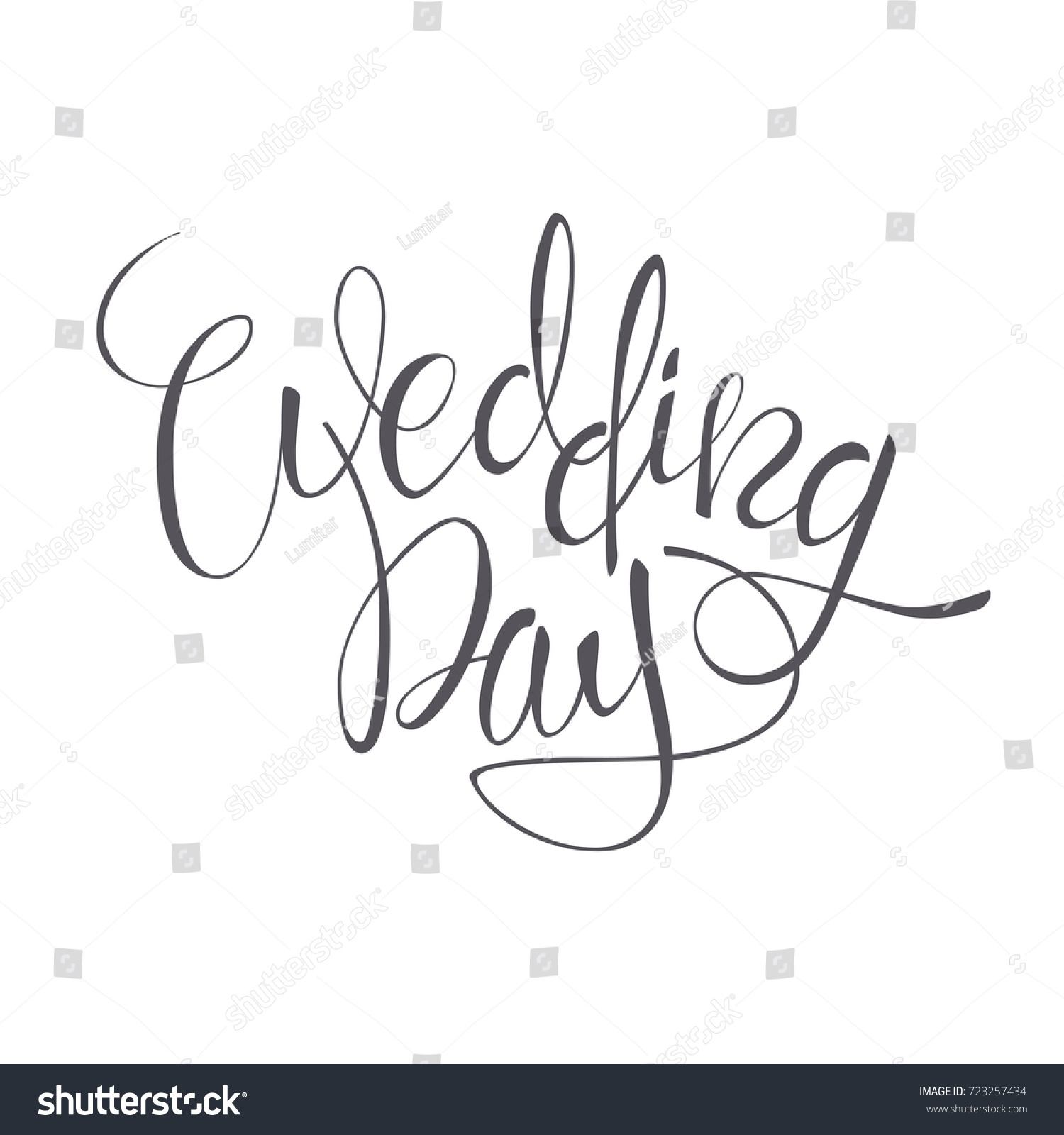 Wedding day vector lettering text on stock vector 723257434 wedding day vector lettering text on white background hand written decorative design words in junglespirit Images