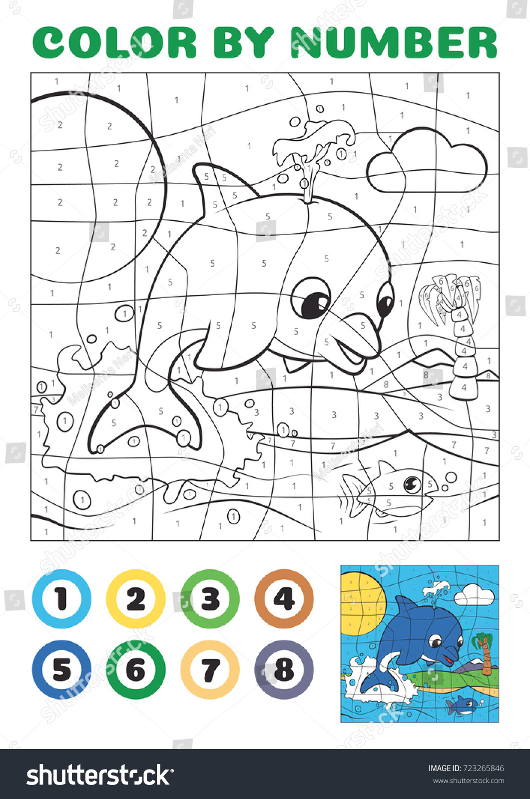 Color By Number Educational Game Kids Stock Vector 723265846 ...