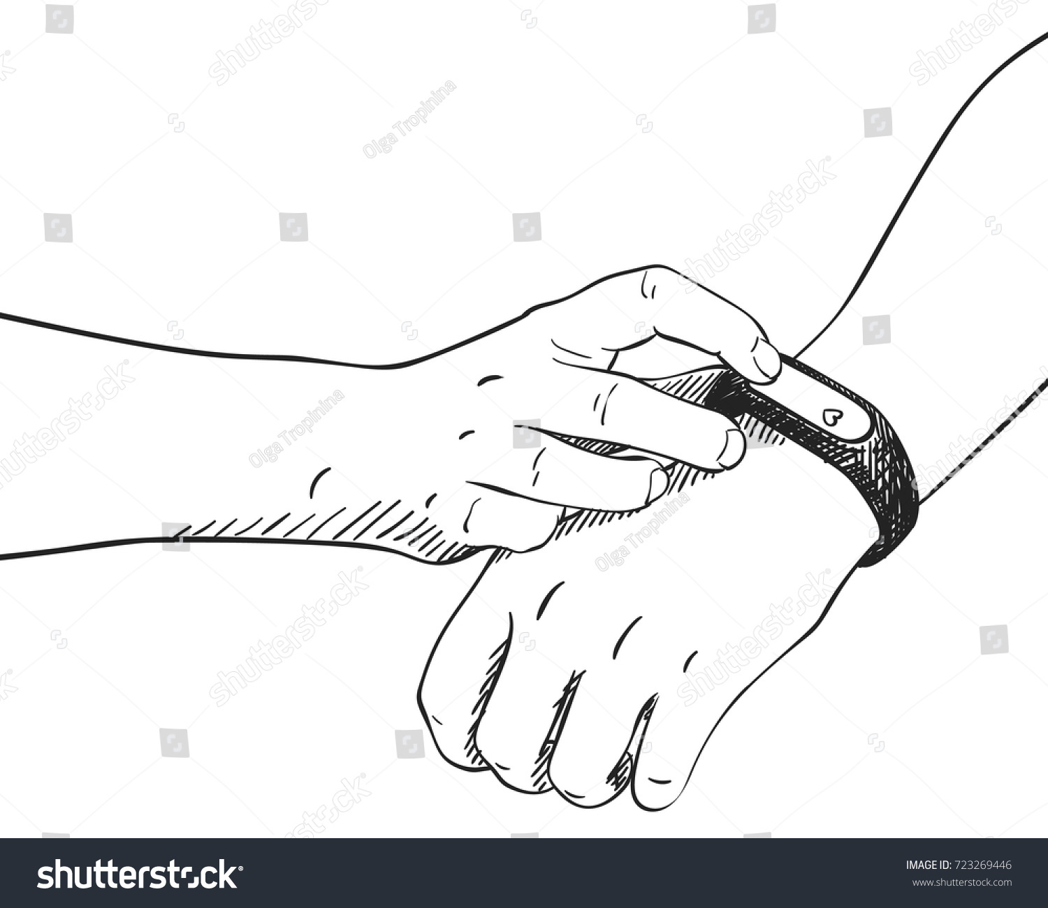 Sketch of hand with fitness bracelet touching screen with heart icon hand drawn vector illustration