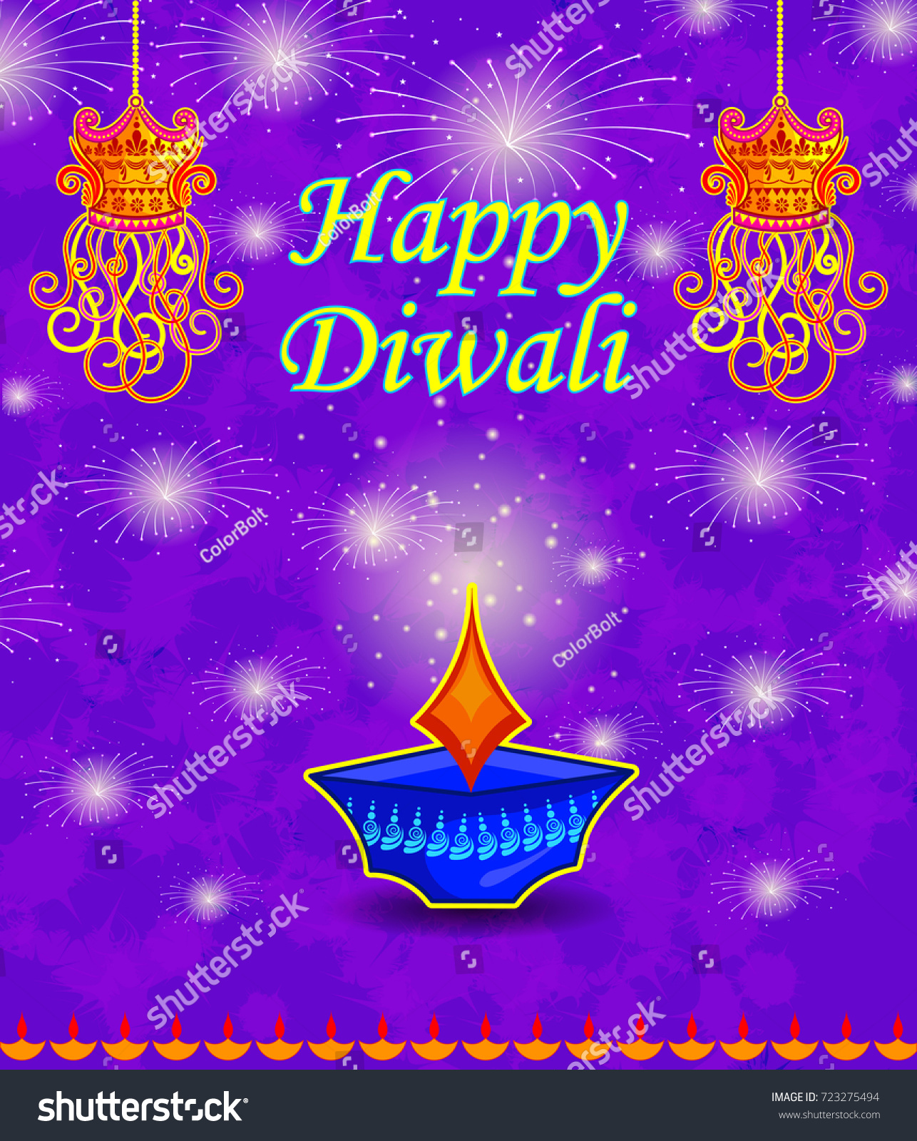 Happy Diwali Light Festival India Greeting Stock Vector Royalty