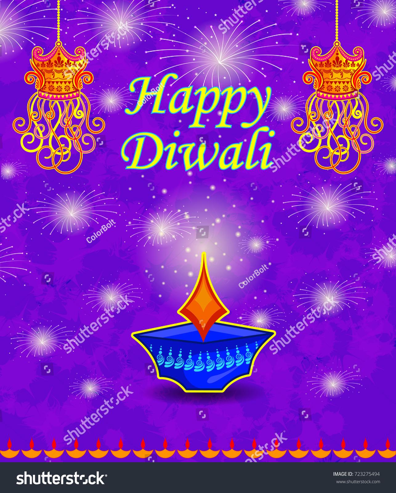Happy Diwali Light Festival India Greeting Stock Vector Royalty