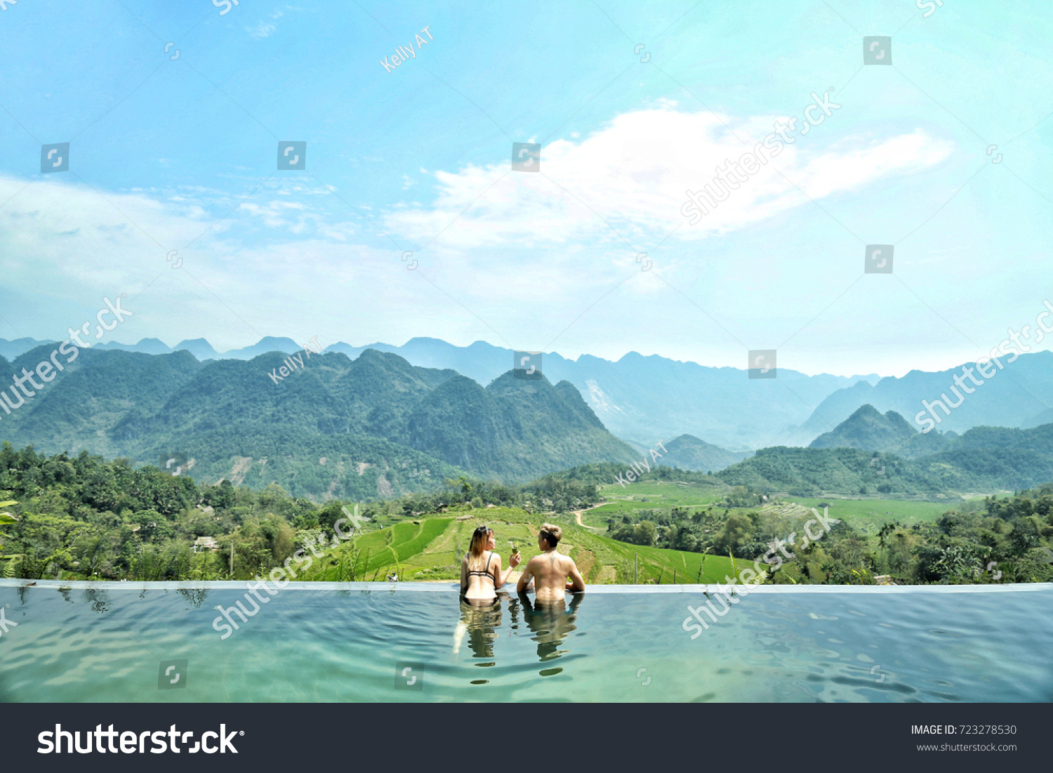 Girl Overflowing Pool Happy Couple Enjoy Stock Photo (Royalty Free ...
