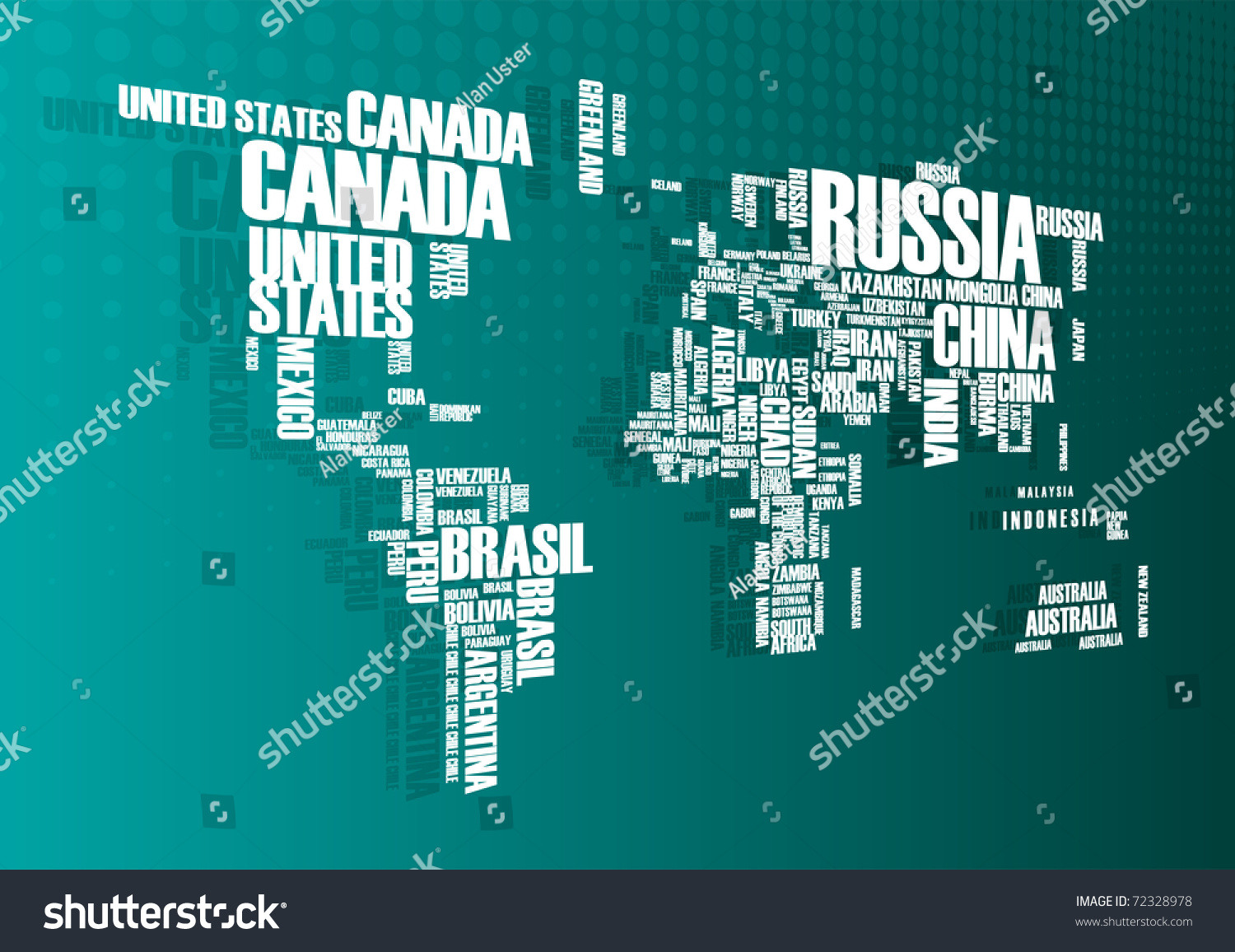 World map countries wordcloud stock vector 2018 72328978 world map countries in wordcloud gumiabroncs Choice Image
