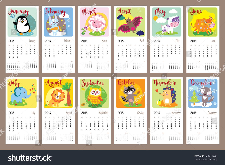 Cute Animals Calendar 2018 Year Cute Stock Vector 723314824 ...