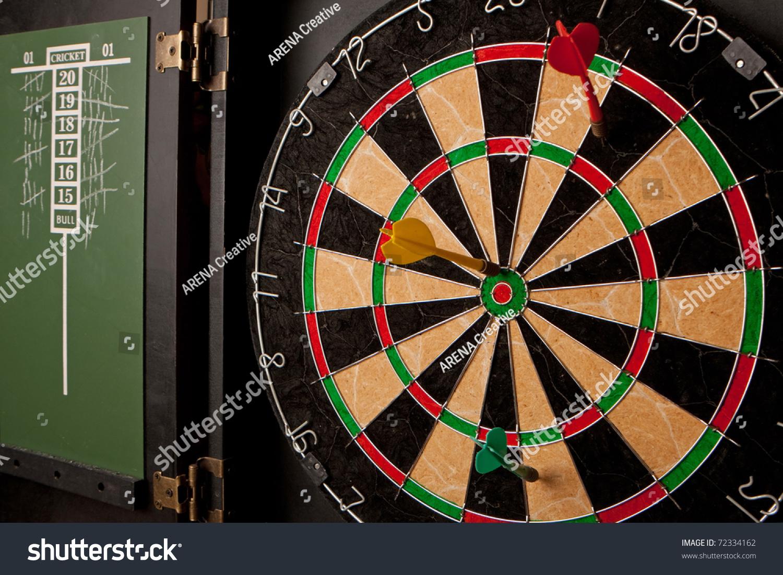 Dart Board Cabinet With Chalkboard Professional Dart Board Enclosed Cabinet Slate Stock Photo