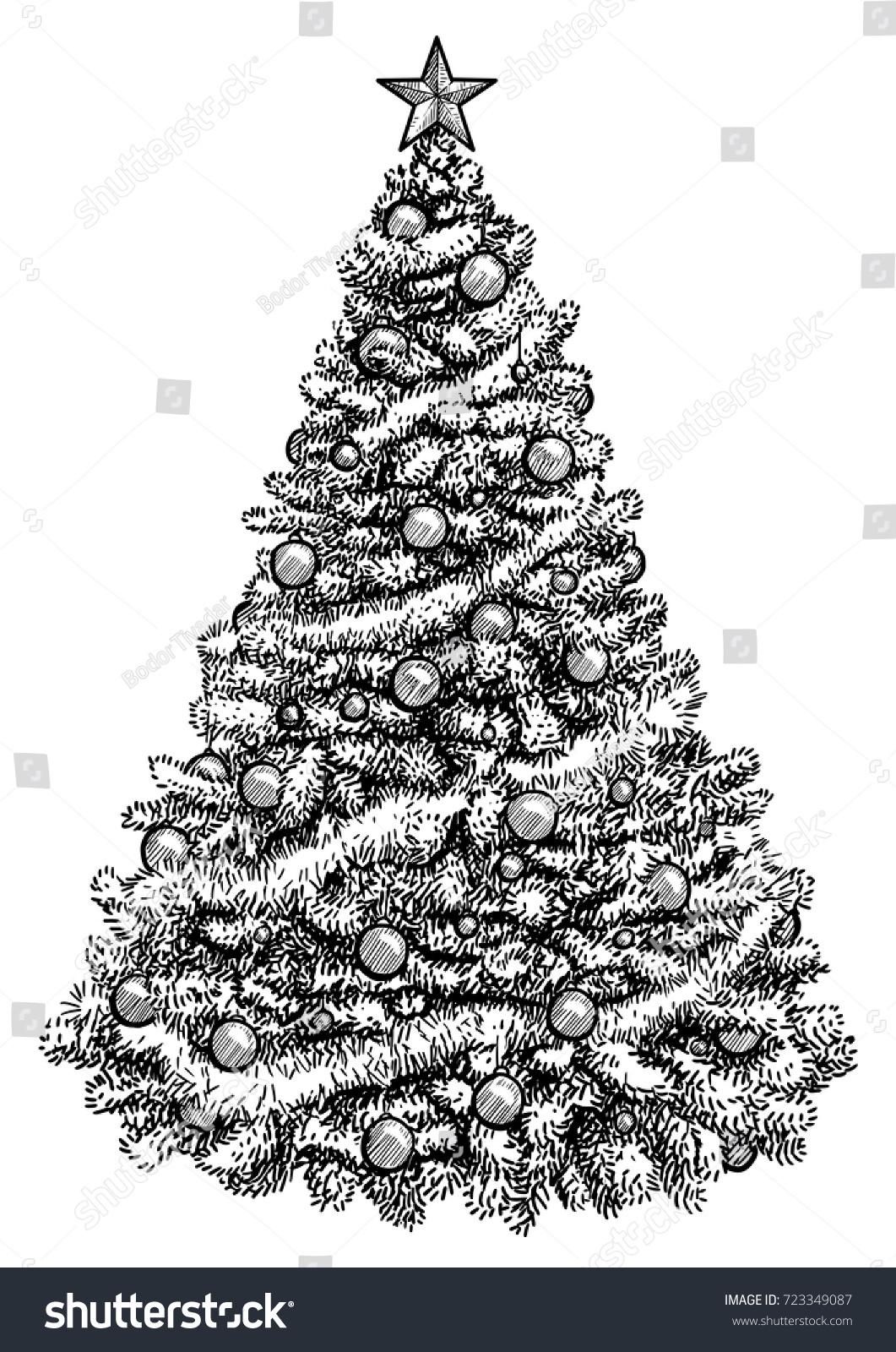 Line Drawing Christmas Tree : Christmas tree illustration drawing engraving ink stock