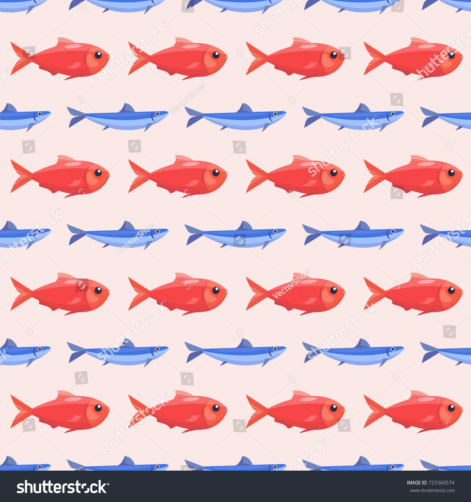 Funny Fish Seamless Pattern Sea Food Stock Vector 723360574 ...