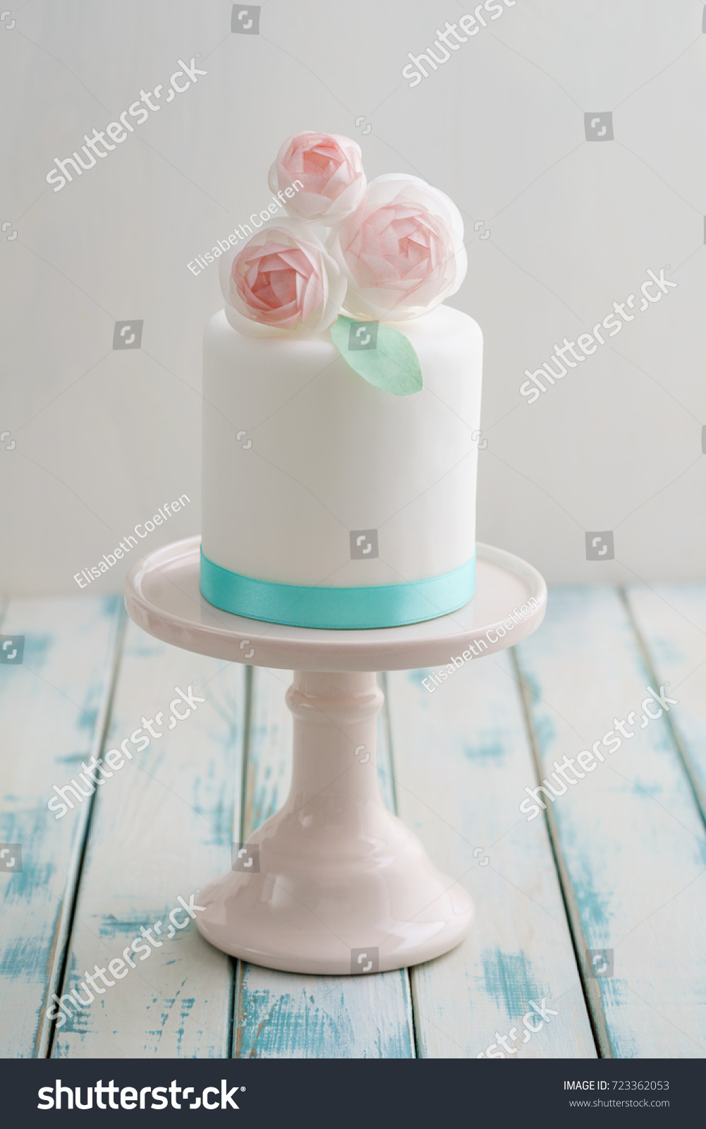 Mini White Fondant Covered Wedding Cake Stock Photo Edit Now