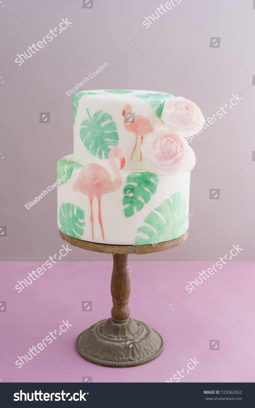 Two Tiered Tropical Wedding Cake Fondant Stock Photo Edit Now