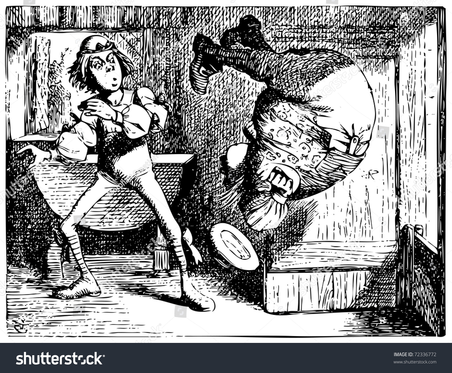 Alice In Wonderland Old Engraving Father William Jumping Or Doing A  Summersault: Alice's Adventures