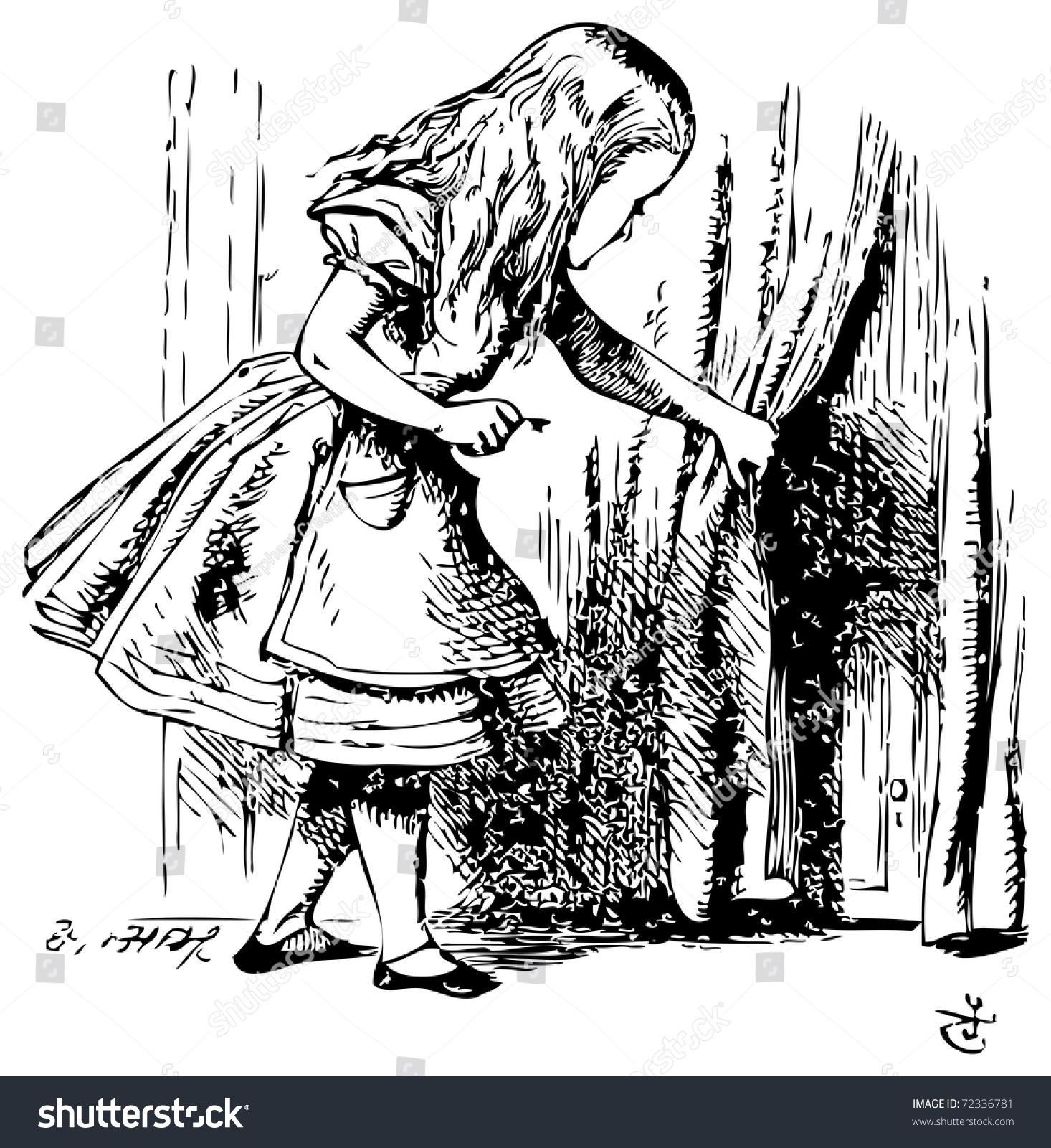 Alice in Wonderland. Alice is looking behind a curtain to reveal a hidden door  sc 1 st  Shutterstock & Alice Wonderland Alice Looking Behind Curtain Stock Vector ... pezcame.com