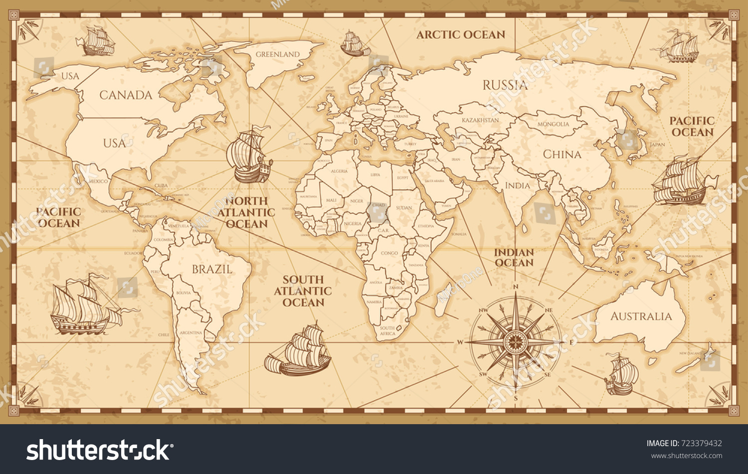 Vector Antique World Map Countries Boundaries Stock Vector Royalty