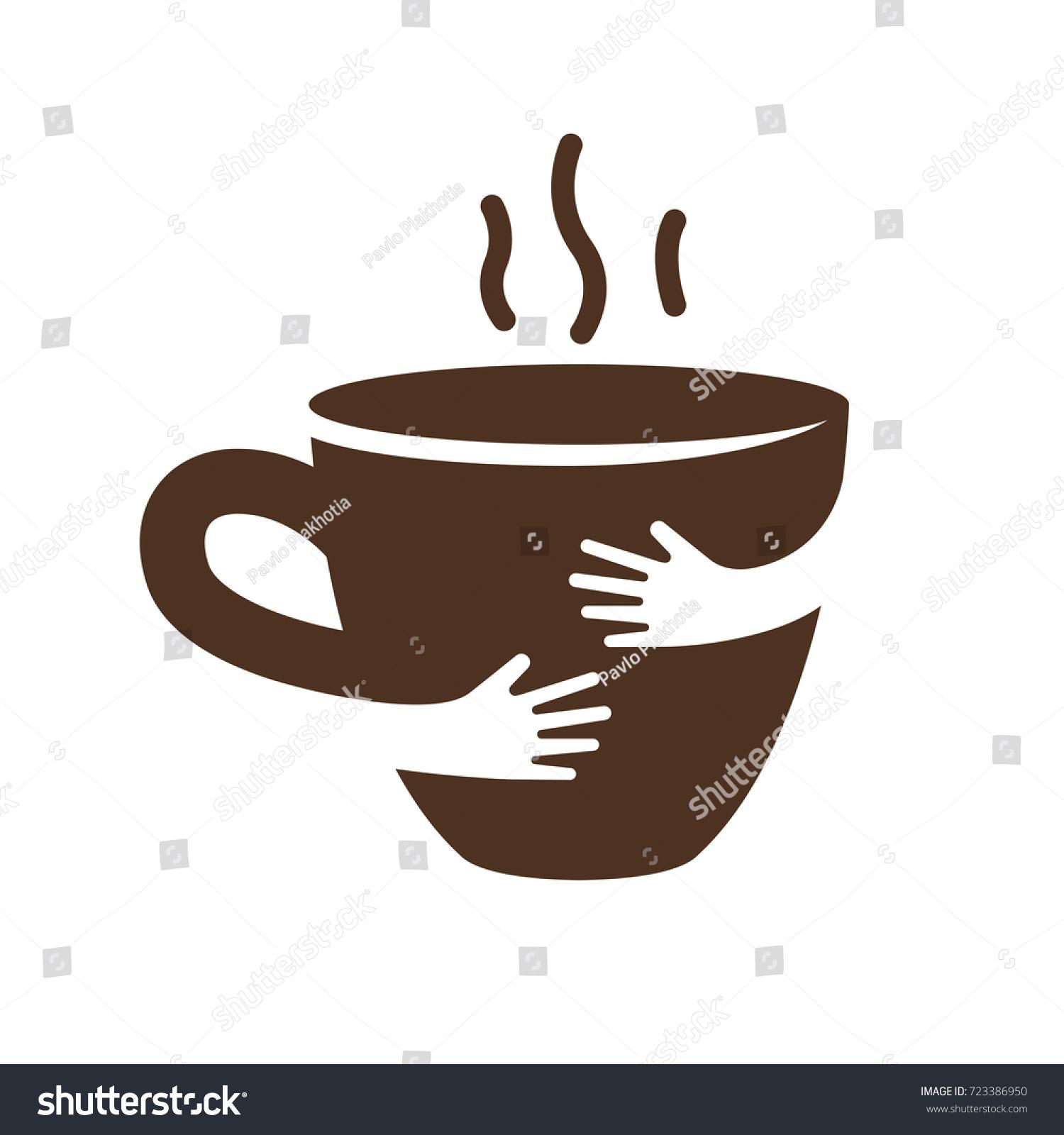 creative coffee tea cup hands logo stock vector 723386950