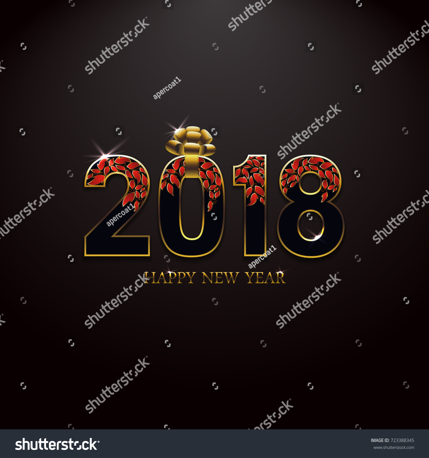 happy new year 2018 celebration luxurious gift card greeting raster illustration banner with golden decoration