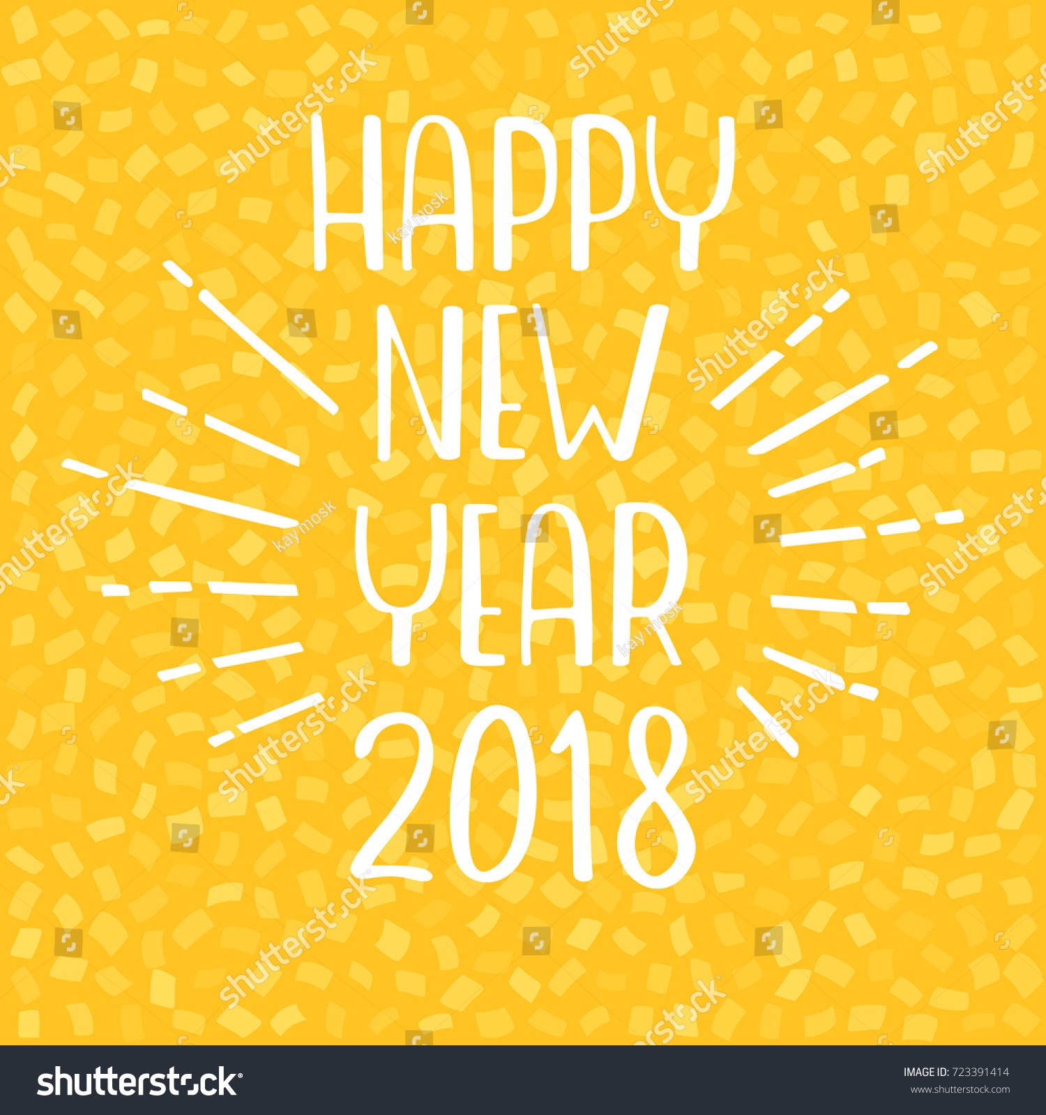happy new year 2018 greeting card vector lettering on yellow background