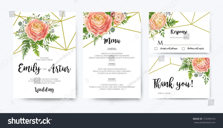 Wedding Invitation Floral Invite Card Design Stock Vector (Royalty ...