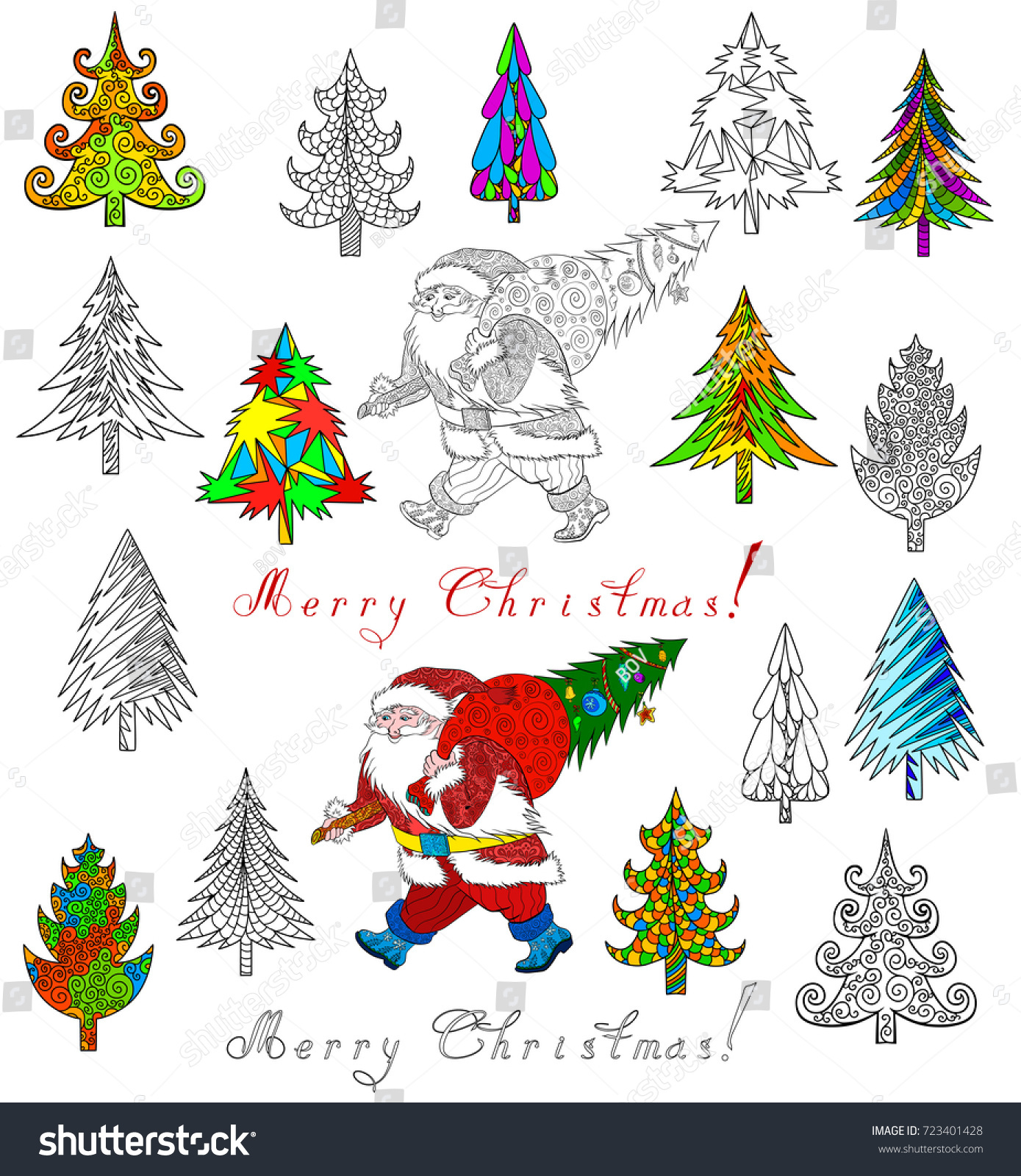 Christmas Tree Santa Claus Doodle Coloring Stock Vector Royalty