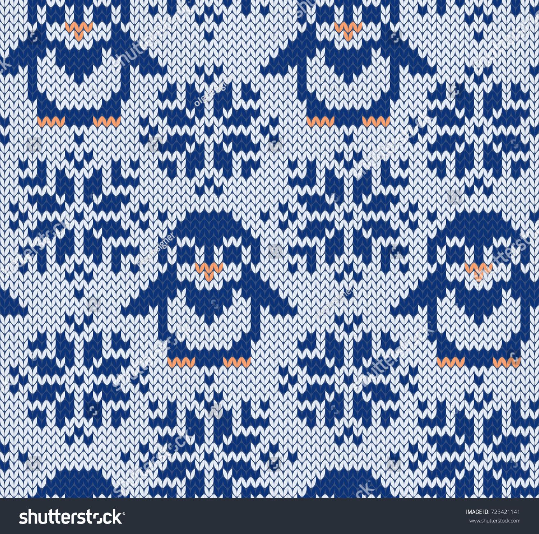 Penguin Jacquard Knitted Seamless Pattern Winter Stock Vector (2018 ...