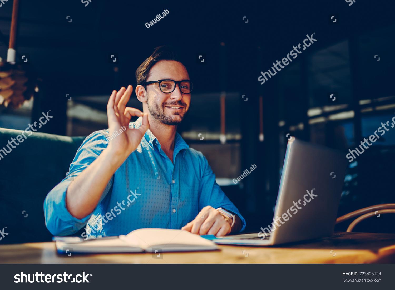 Portrait Skilled Male Freelancer Showing Ok Stock Photo