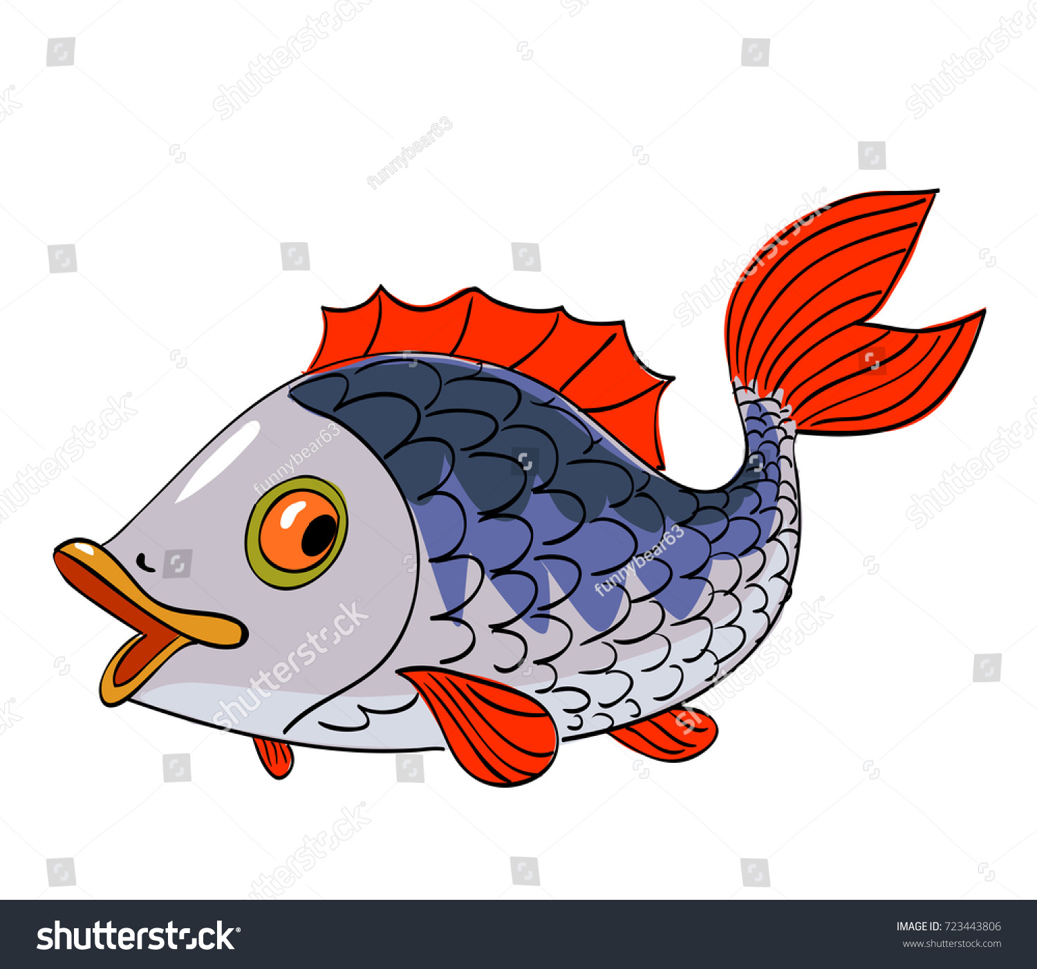 Funny Cute Colorful Fish Cartoon Image Stock Vector 723443806 ...