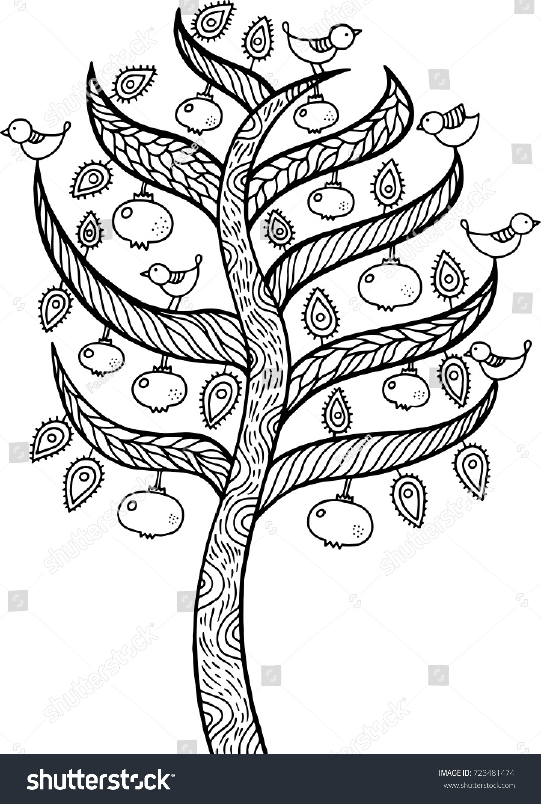 Pomegranate Tree Kids Illustration Outline Doodle Stock Vector