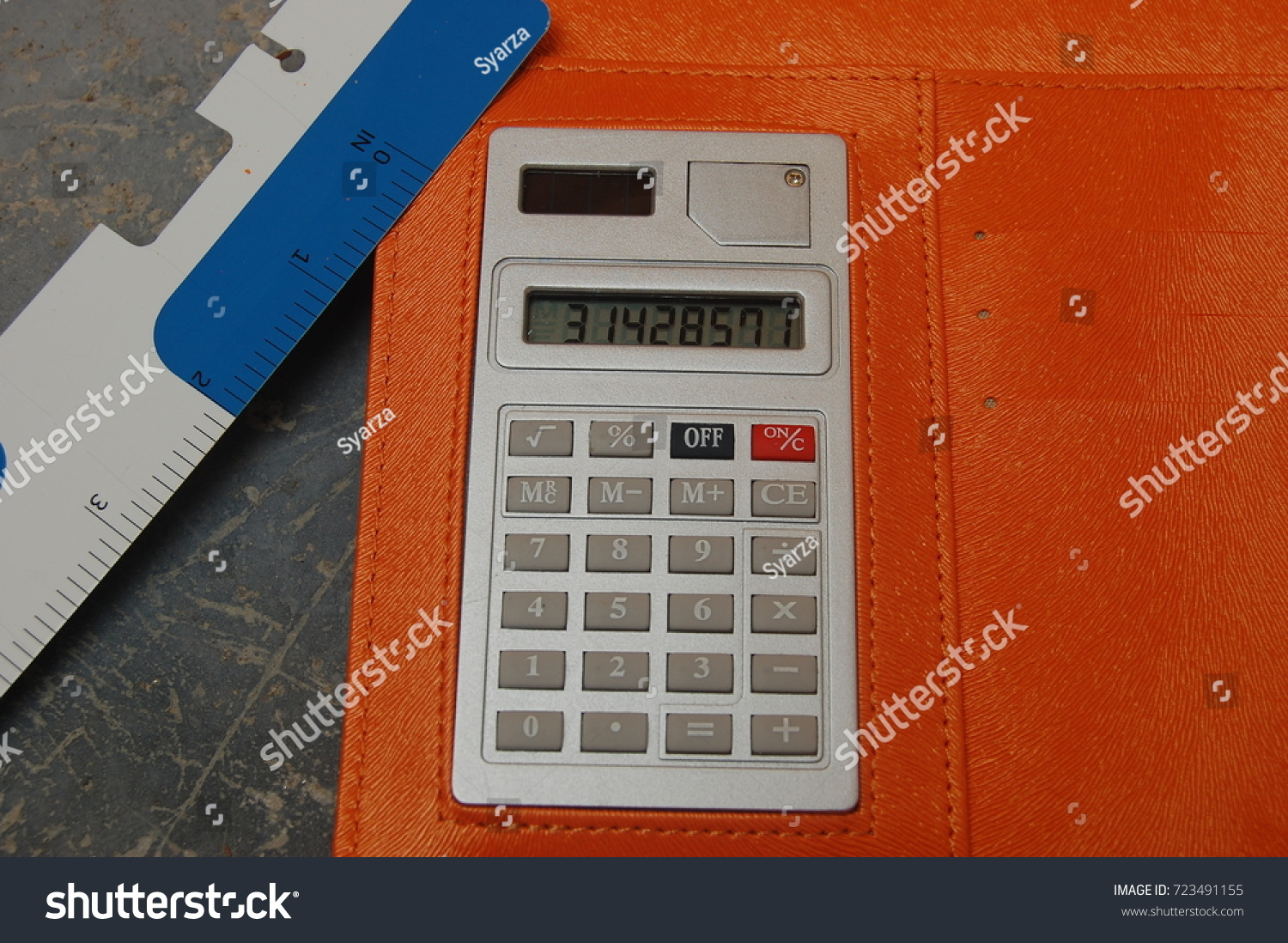 calculator ruler calculate pi value that stock photo edit now
