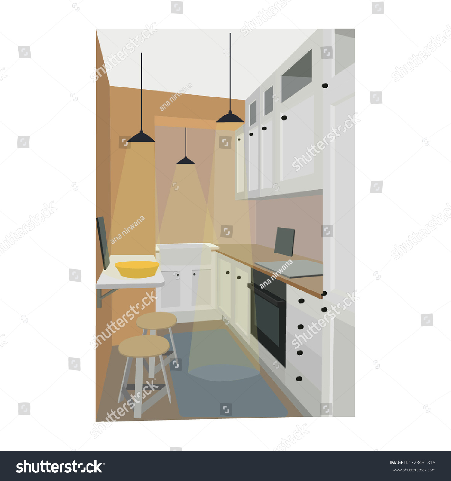 Home Interior Kitchen And Dining Room Design Vector Illustration In Flat Style