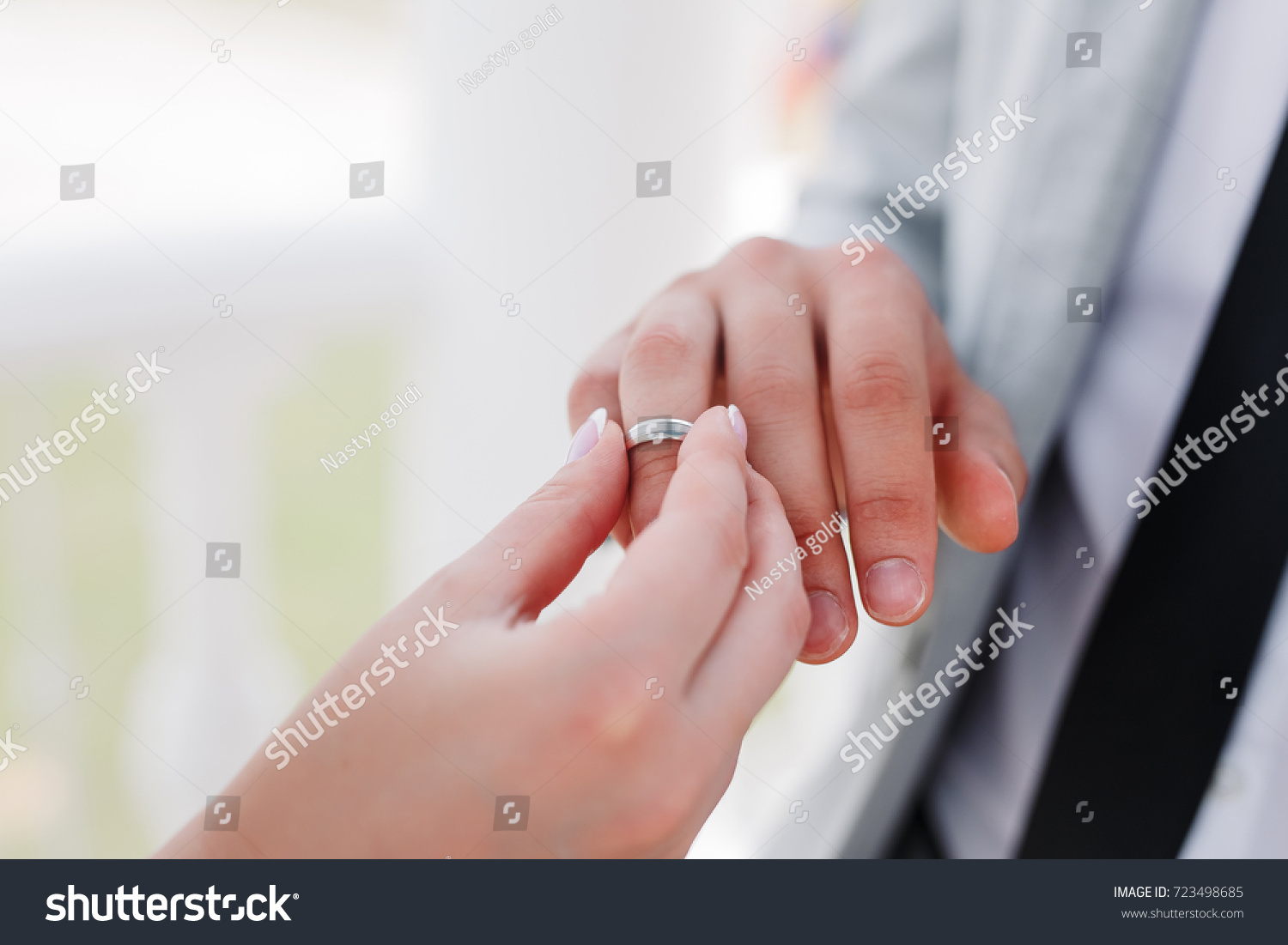 Bride Don Wedding Ring On Grooms Stock Photo (Royalty Free ...