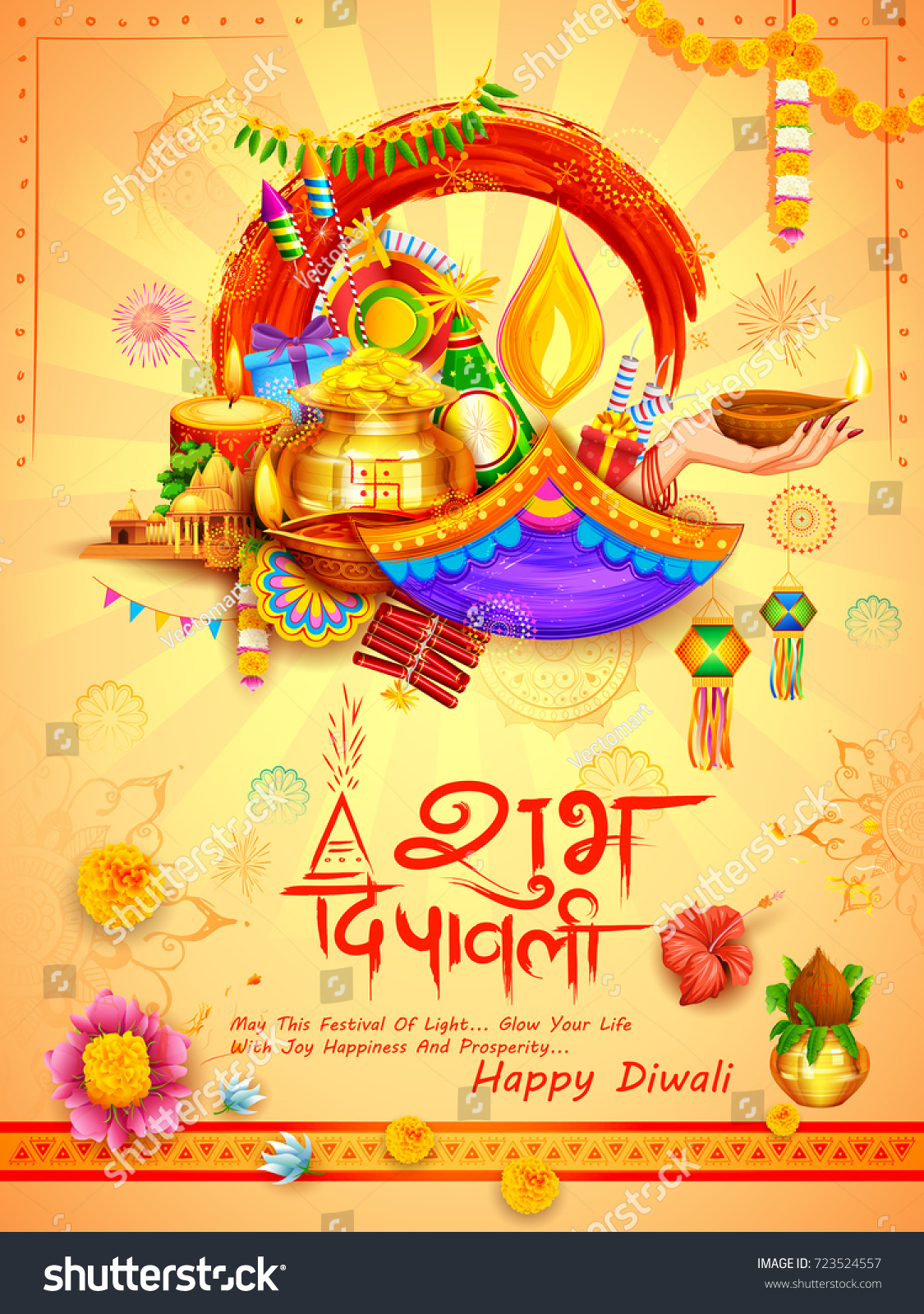 Illustration Of Burning Diya On Diwali Holiday Background For Light
