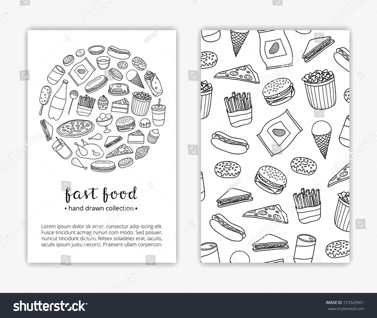 Card Templates Doodle Outline Fast Food Stock Vector (Royalty Free ...