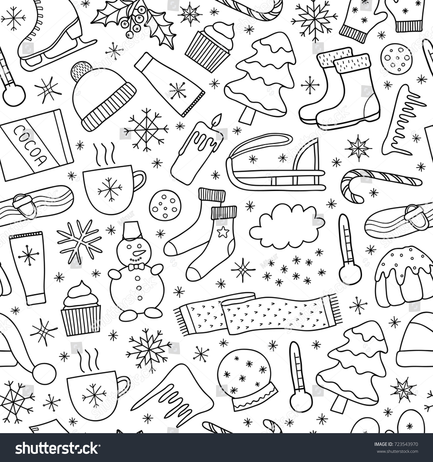 Black White Seamless Pattern Doodle Outline Stock Vector (Royalty ...
