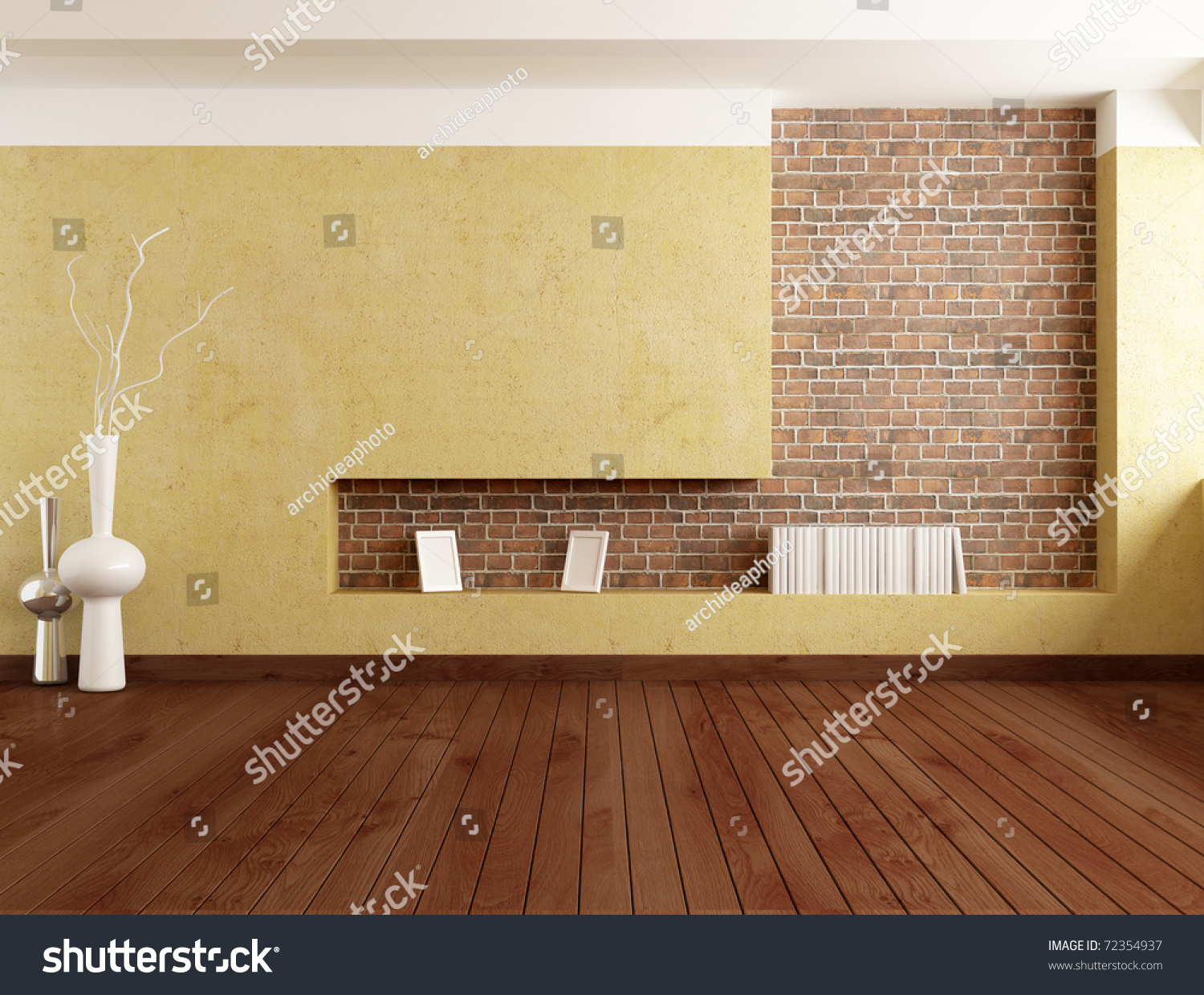 Empty Minimalist Room Plaster Wall Brick Stock Illustration 72354937 ...