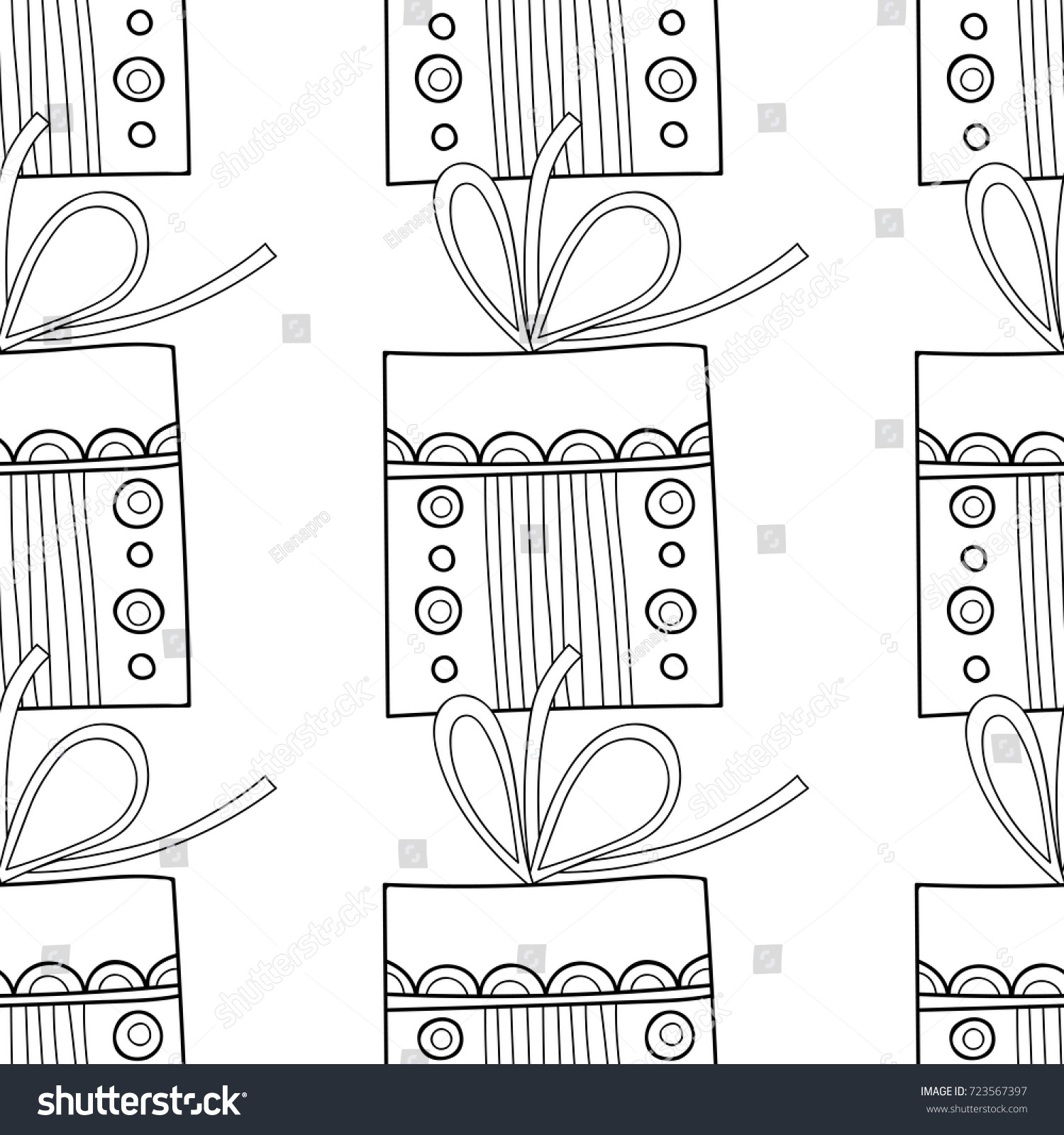 Gift Boxes Decors Ornaments Coloring Books Stock Vector 723567397 ...