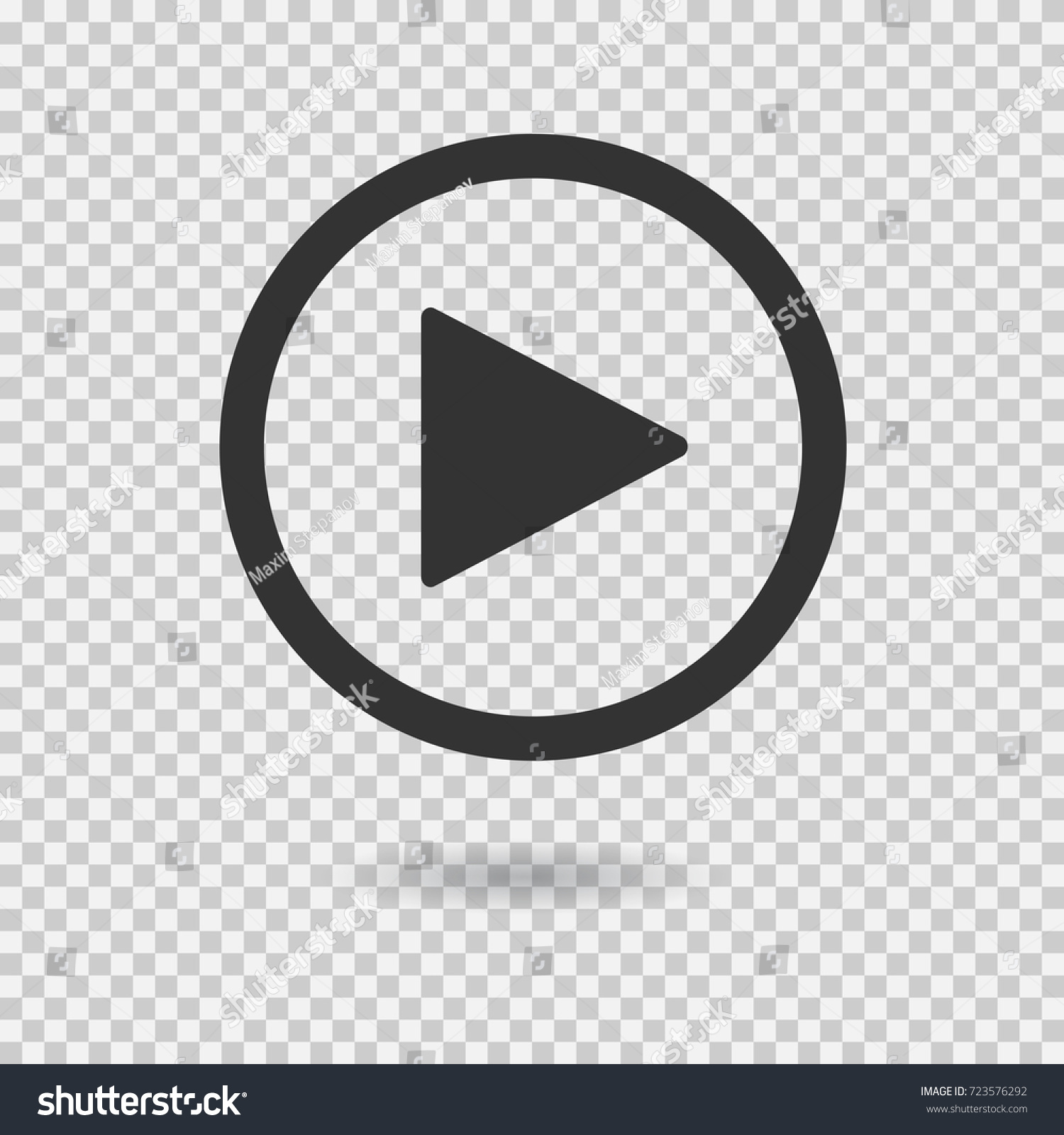 Play button with shadow on transparent background. Isolated sign for web. Vector icon. #723576292