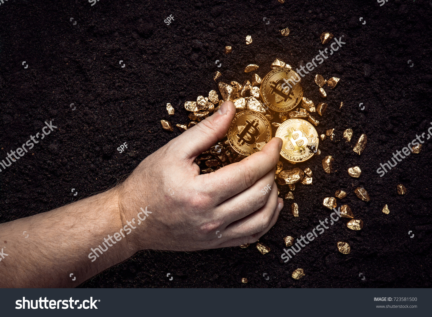 Gold Nuggets With A Bitcoin In The Hands Of Miner Mining Golden Bitcoins