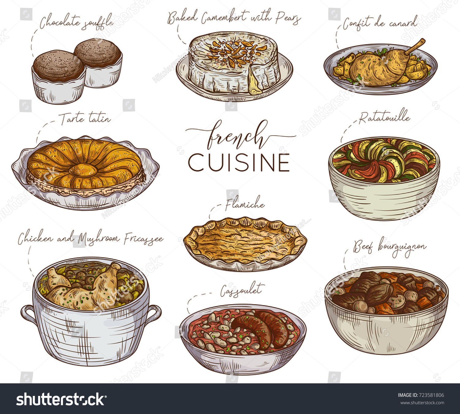 French Cuisine Collection Delicious Food Isolated Stock Vector